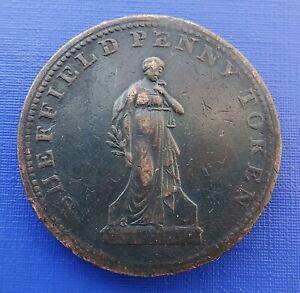 Britain 1813 Sheffield Penny Workhouse Token, Overseers of the Poor~#1203