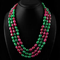 GENUINE 646.85 CTS EARTH MINED ROUND SHAPED RICH RED RUBY BEADS NECKLACE STRAND