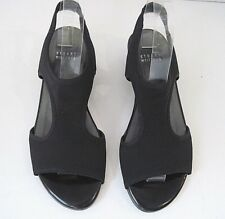 Stuart Weitzman The Timeless Elegance Black Stretch Canvas Slingback Wedge 6.5 M