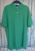 Tommy Hilfiger Large Mens Short Sleeve Collared, Polo Green, Classic, Casual,