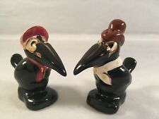 Vtg Anthropomorphic Crow Salt Pepper Shakers Magpies Handpainted Gold Accents