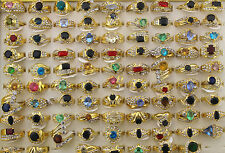Wholesale mixed Lots 50pcs colorful Imitation zircon gold p lady's rings EH125