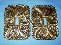 2 Ornate Floral Brass Metal Electrical Light Switch Plate Covers Home Hardware