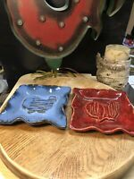 Handmade Signed Stoneware Pottery Set Of 2 Square Dishes Plates Blue Red Glaze