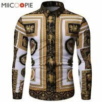 Fashion Luxury Royal Shirt Men Baroque Floral Print Slim Fit Casual Dress