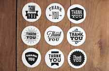 9 x THANK YOU Sticker Assorted Round Labels Party Gift Box Favour Black White