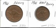 1961 Australian Penny & Halfpenny Pair