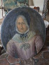 Portrait vieille femme, peinture HST, tableau époque XVIIIème
