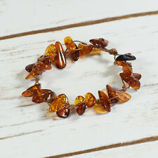 Genuine Natural Baltic Amber Bracelet Raw Beads Cognac Knotted Brown Clasp