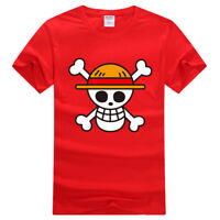 Fashion Anime One Piece Monkey D Luffy Cotton T Shirt Short Sleeve Top Tees New