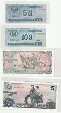 Korea 5 chon 10chon  1 5 won Banknote 1978 UNC  1988 4pcs