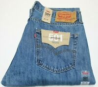 Men's Levi's 501 Medium Stonewash Blue Cotton Straight Leg Button Fly Jeans-0193
