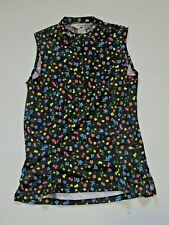 Sugoi Cycling Jersey Sleeveless Women's Black Multi Color Flowers Size Large
