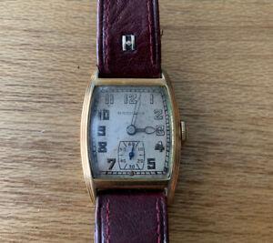 Vintage Gents Art Deco Hamilton 14k Gold Filled Watch - Working