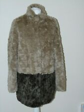 WAREHOUSE LADIES CARAMEL & BROWN FAUX FUR COAT SIZE 14 VERY COSY