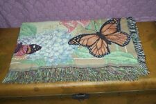 VINTAGE Butterfly Tapestry, Afghan, Throw, Blanket Tablecloth or Coverlet