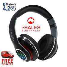 Wireless Bluetooth LED Stereo Headphones Adjustable Headsets Heavy Bass FM Black