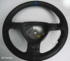 Per FORD FIESTA 02-10 NERO PERFORATO IN PELLE + BLU CINTURINO STEERING WHEEL COVER