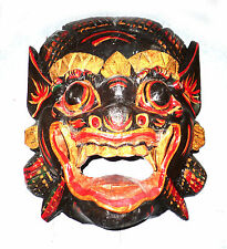 Wooden monkey mask of Barong, BLACK color, hand-carved in Bali, wall mask, new
