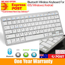 White Slim Wireless Keyboard  For Apple iPad iPhone Android Mac Windows AU