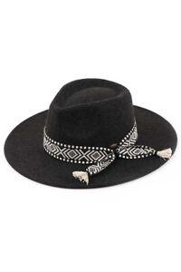C.C Women's Classic Vegan Felt Panama Brim Heather Color Hat with Aztec Trim