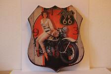 grosse stylische Wanduhr Route 66 Motorrad 40 x 48 cm