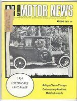 Vtg ANTIQUE MOTOR NEWS November 1974 MAGAZINE Roadster LOCOMOBILE Landaulet Car