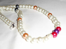 Handmade Ladies Jewelery White, Cream, Red Glass Pearl Wedding Necklace  20.5 in