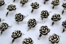 FREE Wholesale Lot 5Pcs tibetan Flower Silver Plated Rings Fashion Jewelry