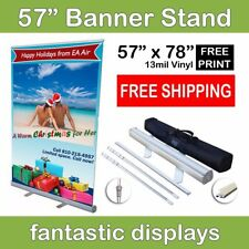 Retractable Banner Stand 57x78 Trade Show Roll Up Display Free Full Color Print