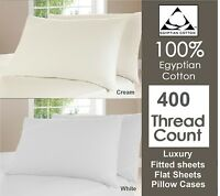 Duvet Cover Set 400 TC 100% Egyptian Cotton Fitted Flat Sheet Single Double King