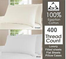Duvet Cover Set 400 TC 100% Egyptian Cotton Fitted Flat Sheet Single Double King