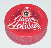WILKES-BARRE SCRANTON PENGUINS Happy Holidays RED COLORED AHL SOUVENIR PUCK