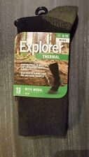 3 X Pairs Explorer Thermal Work Socks With Modal Crew Mens Blue Camping