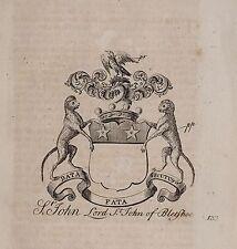 1779 antica stampa ~ St John Stemma di Famiglia Stemma Lord San Giovanni di bletshoe