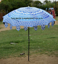 Indian Garden Umbrella Ombre Mandala Cotton Large Patio Outdoor Parasol Umbrella