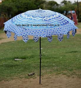 Indian Garden Umbrella Ombre Mandala Cotton Large Patio Outdoor Parasol Umbrella
