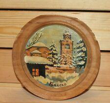 Vintage Folk hand painted oil/wood wall hanging plate landscape