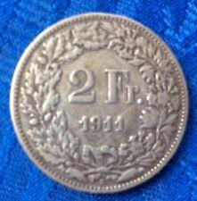 MONNAIE ANCIENNE ** SUISSE ** HELVETIA DEBOUT  EN ARGENT 2F 1911 B