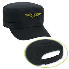 NAVAL FLIGHT OFFICER MILITARY Black Military Army Style Cotton Hat Cap