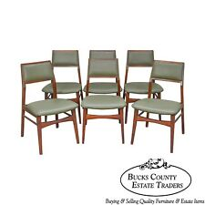 Jens Risom Mid Century Modern Set of 6 Walnut Dining Chairs