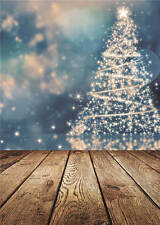 Photo Background Merry Christmas Trees Wooden Photography Backdrops Vinyl 5x7FT