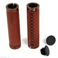 Cardiff Julian Stitched Leather Locking Handlebar Cruiser Bicycle Grips - Brown