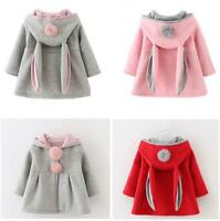 Kids Toddler Girl Coat Tops Rabbit Ear Hooded Cape Hoodies Winter Jacket Clothes