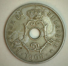 1908 Belgium 25 Centimes Coin Currency XF