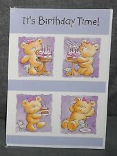 "BN - BIRTHDAY CARD - JUVENILE FEMALE/GIRL - STYLE 7 - ""TEDDIES/CAKE"""