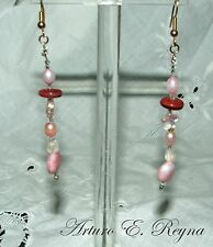 HANDCRAFTED IRIDESCENT GLASS BEADS & FW PEARLS Earrings