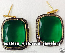 Vintage Inspired 2.23Ct Rose Cut Diamond Emerald Sterling Silver Earring Jewelry