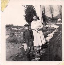 Funny Faces Laughing? Crying? Boy & Mom Woman Holding Cat Dogs 1956 Vtg Photo