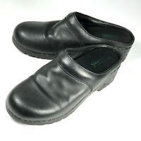 LL Bean Womens 8M Leather Mule Slip On Clog Black